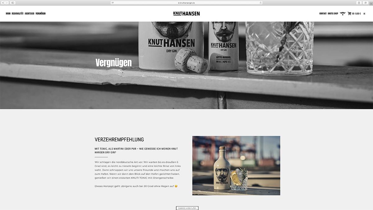 jung und billig werbeagentur knut hansen webdesign bildschirm1 - Relaunch für Knut Hansen DRY GIN
