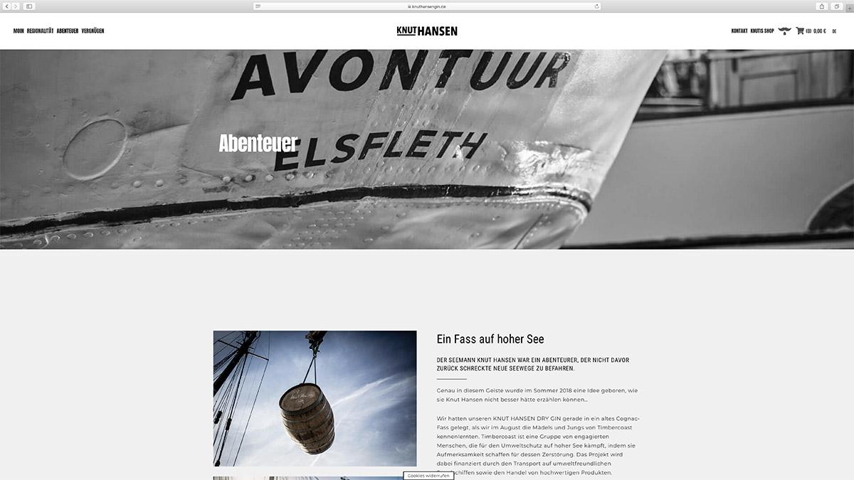 jung und billig werbeagentur knut hansen webdesign bildschirm2 - Relaunch für Knut Hansen DRY GIN