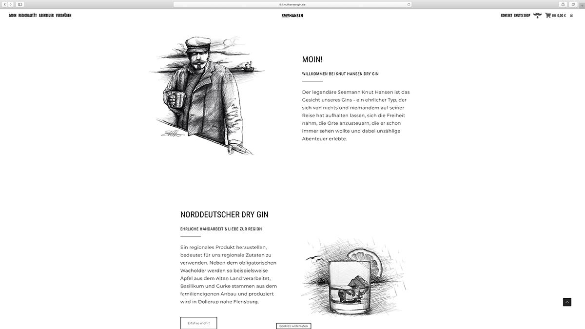 jung und billig werbeagentur knut hansen webdesign bildschirm3 - Relaunch für Knut Hansen DRY GIN