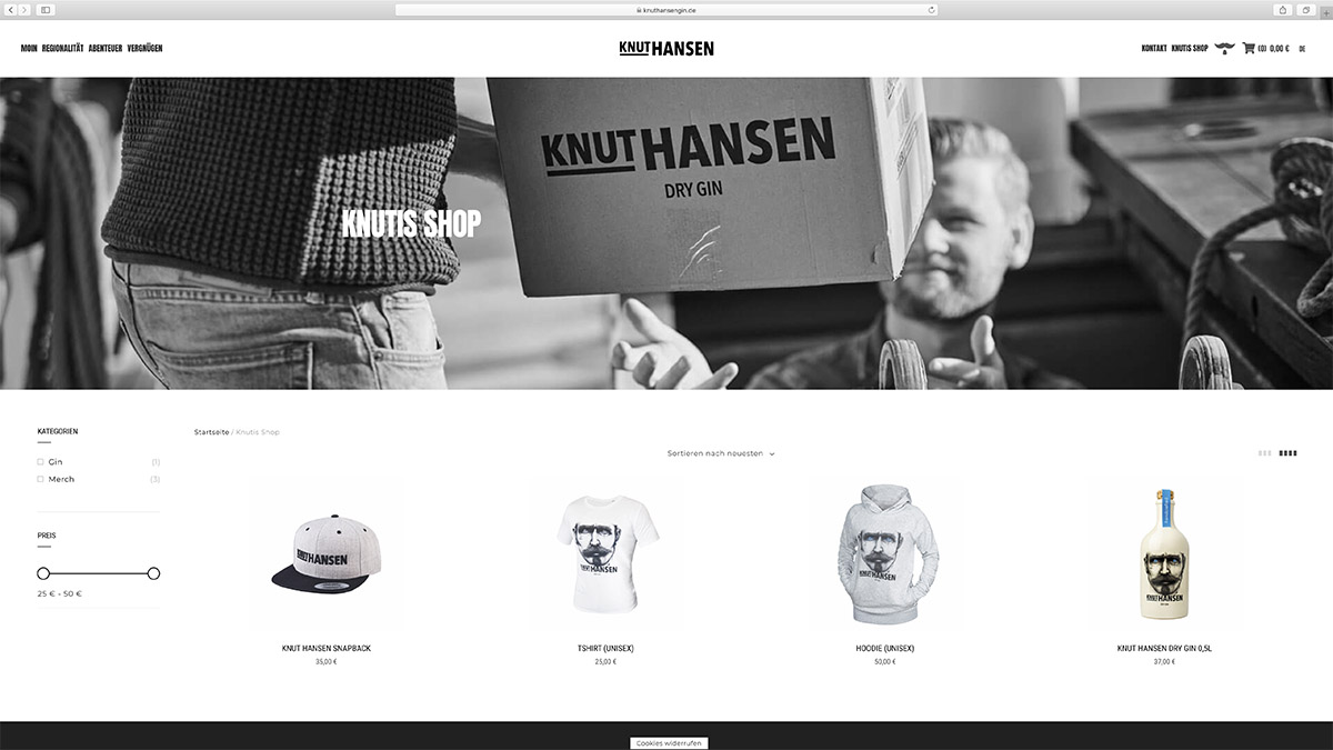 jung und billig werbeagentur knut hansen webdesign bildschirm5 - Relaunch für Knut Hansen DRY GIN