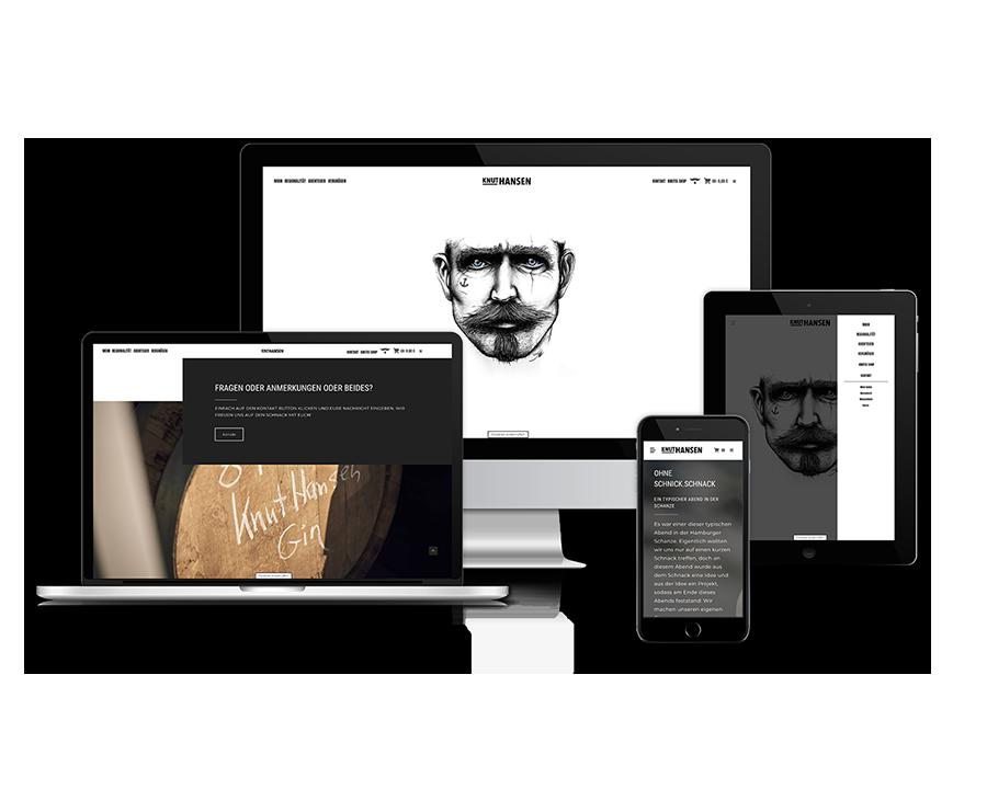 jung und billig werbeagentur knut hansen webdesign devices - Relaunch für Knut Hansen DRY GIN