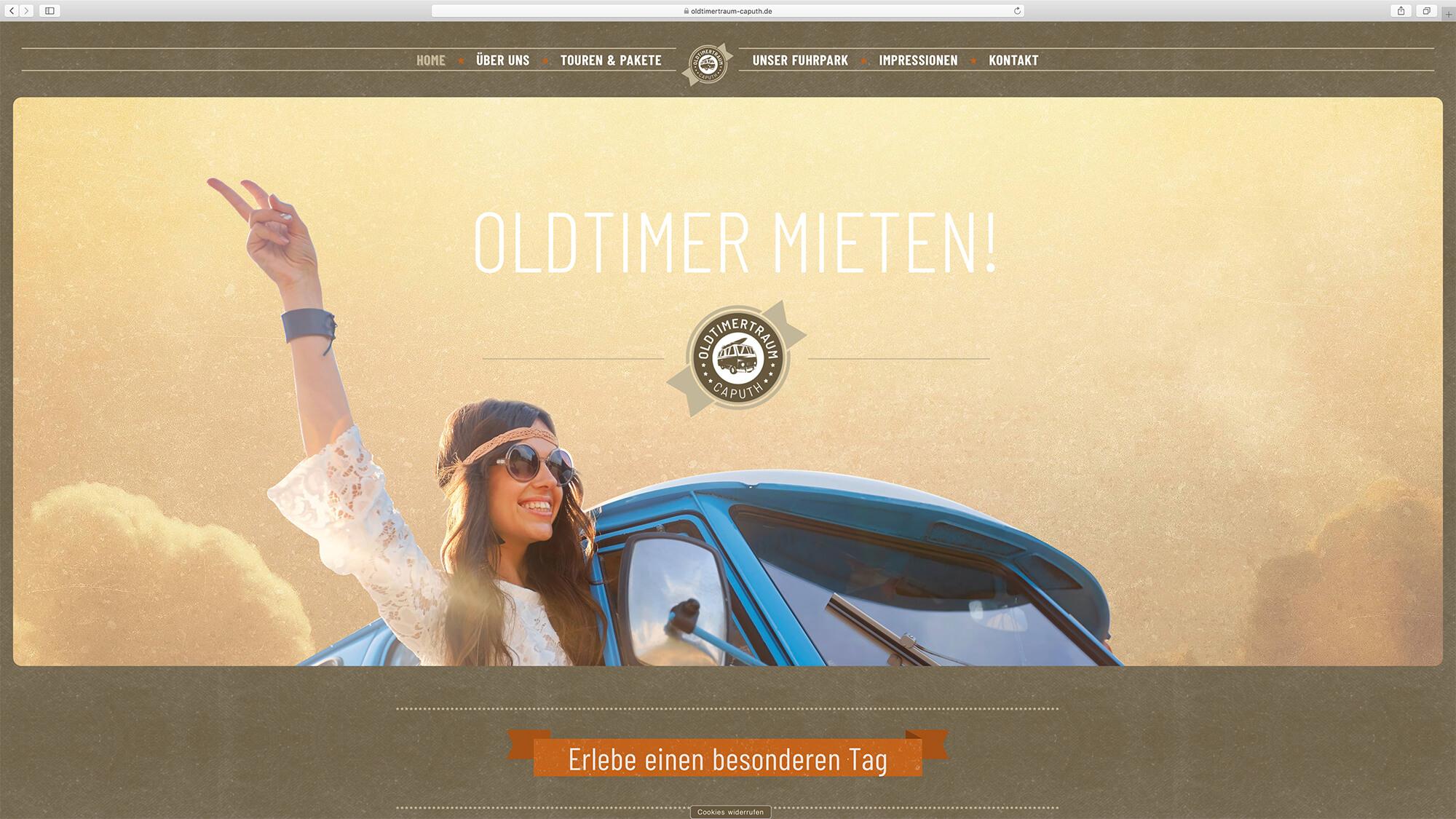 jung und billig werbeagentur oldtimertraum caputh webdesign bildschirm 1 - Oldtimertraum Caputh
