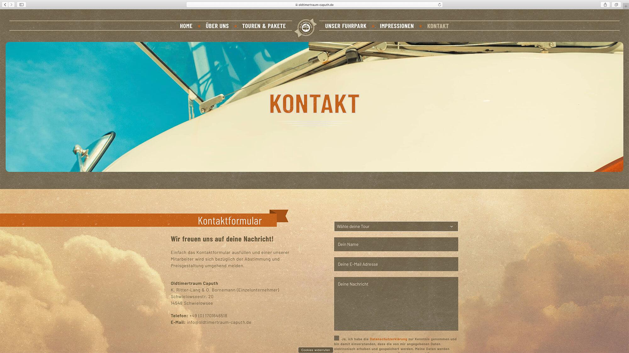 jung und billig werbeagentur oldtimertraum caputh webdesign bildschirm 8 - Oldtimertraum Caputh